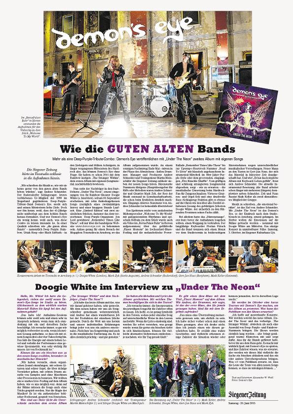 """Siegener Zeitung vom 20.06.2015 berichtet über das neue Album """"Under The Neon"""" von Demon's Eye feat. Doogie White"""