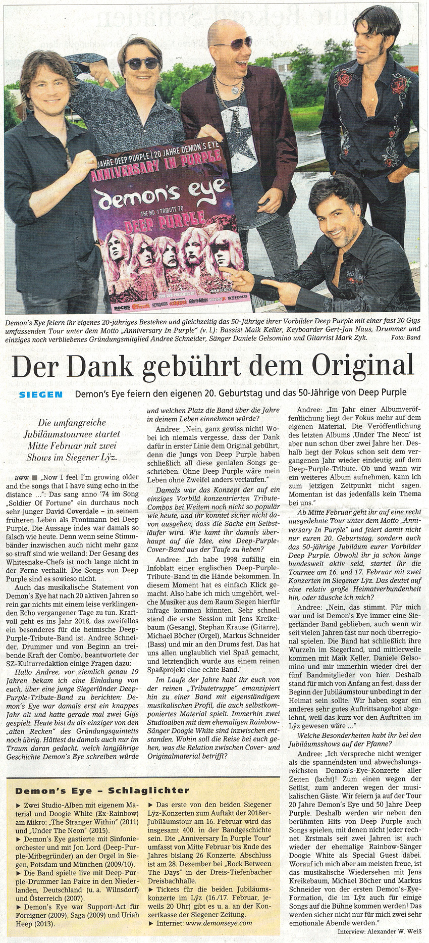 Anniversary in Purple Tour beginnt - Demon's Eye - Siegener Zeitung vom 05.01.2018